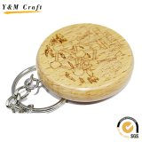 Commercio all'ingrosso del legno dell'anello chiave di marchio della Camera su ordinazione del regalo di Survenir di modo