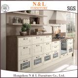 Armadio da cucina bianco su ordinazione di legno solido della mobilia della casa di colore