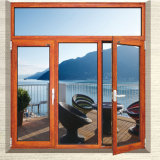 Hölzerner Aluminiumglaswand-Vorhang-Typ Flügelfenster-Fenster-Entwurf für Landhaus-Haus-Gebrauch