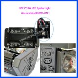 Свет 8PCS*10W RGBW спайдера светильника СИД