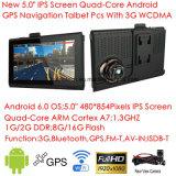 Nueva 2G / 3G de coches Portablet Android 6.0 Quad-Core Tablet PC de navegador GPS con Full HD 1080p del coche DVR, 2CH grabador de vídeo; Transmisor FM; AV-in para cámara del estacionamiento