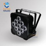 高品質9*10W 4in1 RGBW DMX512の6in1充満飛行ケースが付いている電池式の無線電信LEDの細い同価ライト