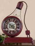 Vintage antiguo decorativa Lámpara de luz naranja Metal forma de reloj de mesa