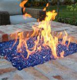 벽난로 장식적인 파란 화재 유리