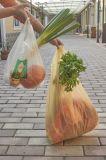 Sac à provisions en plastique de traitement pliable promotionnel de gilet de pente