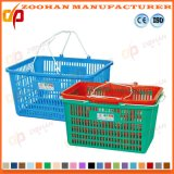 Venta al por mayor barato de plástico Cestas de compras portátil con asas metálicas (Zhb104)
