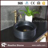 Modern Design Black Stone Solid Surface Banheiro Lavatório / Bacia