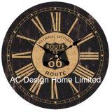 Decoración Vintage antiguo de la Ruta 66 Elegante diseño en madera MDF de reloj de pared de la etiqueta de papel de impresión