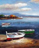 Comercio al por mayor barco por el mar decorativa tela pintura al óleo