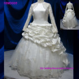 Vestido de casamento nupcial muçulmano da luva longa luxuosa do vestido de esfera