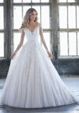 V-Collet nuptiale de chemises de robes de bille de lacet long plus les robes de mariage de taille B8403
