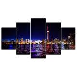 Canvas die de Afgedrukte Beelden Van de binnenstad van het Canvas van de Kunst van de Muur van de Stad van Toronto van 5 Stukken voor het Decor van het Huis van de Slaapkamer van de Woonkamer schilderen