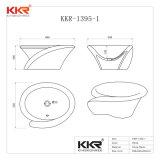 Kkr Pedra de resina de banho de superfície sólida vaidade pia (180321)