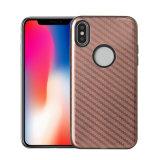 2018 per il caso di visualizzazione occidentale del telefono delle cellule della fibra del carbonio di Sublimition del metallo operato blu alla rinfusa TPU di iPhone 10