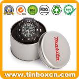 Caja de plata redonda de encargo del estaño del reloj para el rectángulo de regalo del metal