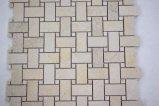 Decoração Cesto de mármore tecem Mosaico Bege pedra para azulejos de parede