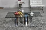 Koffietafel van de Basis van het Roestvrij staal van het Glas van de Vorm van de Bliksem van het Meubilair van de woonkamer de Hoogste