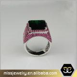 Anello di barretta verde smeraldo del diamante dell'oro alla moda, anelli di oro degli uomini Mjhpr052