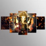 Segeltuch-Farbanstrich-Wand-Kunst-Ausgangsdekor für Wohnzimmer HD druckt 5 Stücke Elefant-Kabel-Gott-modulare Plakat Ganesha Abbildung-