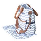 Образом хлопка Mommy Diaper Bag Шеврон с подходящими изменение блока