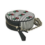 Tela di canapa della banda del sacchetto di memoria del sacchetto della chiusura lampo della piccola dei sacchetti delle nuove di arrivo LC-025 della ciliegia donne del ricamo mini borsa rotonda sveglia della moneta