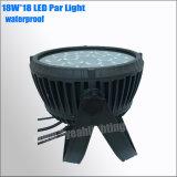Lavagem exterior à prova de IP65 18 fase 18W luz PAR LED