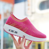 Chaussures croissantes de couleur de Flyknit Vamp de forme physique de dames de hauteur classique de chaussure