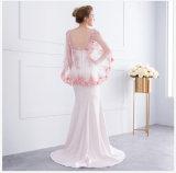 La soirée rose rouge de robe de mère de châle de sirène de Spandex formel de lacet rectifie E13171