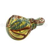 Tubo di vetro della mano con il cucchiaio di vetro di vetro blu del rastrello e dell'involucro (ES-HP-384)