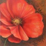 En plein essor Fleur rouge peinture - toile d'art mural