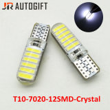 Lampadine a cristallo luminose eccellenti dell'automobile 12SMD LED di 12V/24V T10 7020