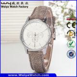Reloj clásico de las señoras de la manera del cuarzo de la correa de cuero (Wy-082E)
