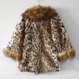 Пальто шерсти Faux печати леопарда