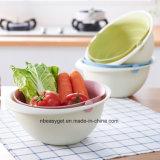 1PC 2 en 1 de la cuenca de la criba de verduras lavar el arroz Cesta de Frutas Canasta de frutas Cocina 3 Colores Esg10285