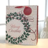Bolsa de papel floral roja del deseo de la Navidad del bolso del aro, bolsa de papel del regalo