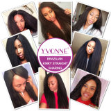 Estensione diritta crespa brasiliana di vendita calda dei capelli umani di Remy del Virgin di Yvonne