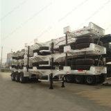 Hightの品質3axle 50tonの容器輸送の平面のセミトレーラー