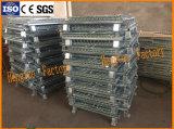 Dobramento e gaiola Stackable do armazenamento do engranzamento de fio de aço com rodízios