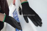 Перчатка работы точности PU черноты гибкости перчатки PU черноты работы безопасности Coated