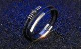 De klassieke Breedte van 11mm kiest de Echte Charme Bracelet&Bangle van de Manier van de Armband van het Leer van de Mensen van de Gesp van het Roestvrij staal van het Leer Magnetische