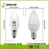 LED C7 밤 점화를 위한 전구 0.5W 연약한 백색 3000K E12 가지가 달린 촛대 전구