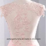 Rosen-Hochzeits-Kleider V-Stutzen Fußboden-Länge Chiffon- mit Spitze-Rüsche