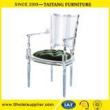 Elegante Slap-up Transparente Clear Crystal braço acrílico Cadeira de jantar