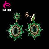 24k金の緑の立方ジルコニアの宝石類は工場製造業者をセットする