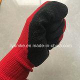 Нейлоновые натурального каучука гильзы Защитные перчатки из латекса Crinkled упора для рук с покрытием