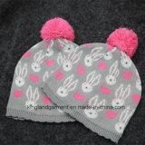 赤ん坊のための弓が付いている100%のアクリルの編まれた帽子