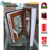 Janela e porta UPVC de madeira de dupla janela