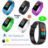 Onlangs hoort de Kleurrijke Armband van Bluetooth van het Scherm van de Aanraking met Tarief I9