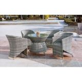 Outdoor White Rattan Dining Set Wicker Furniture (DS-06046)