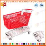 Chariot en plastique à panier de chariot d'achats de supermarché (ZHt286)